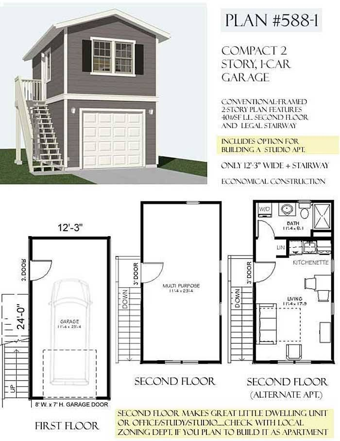 1 car 2 story garage apartment plan 588 1 12 39 3 x 24 for Garage apartment plans 1 story