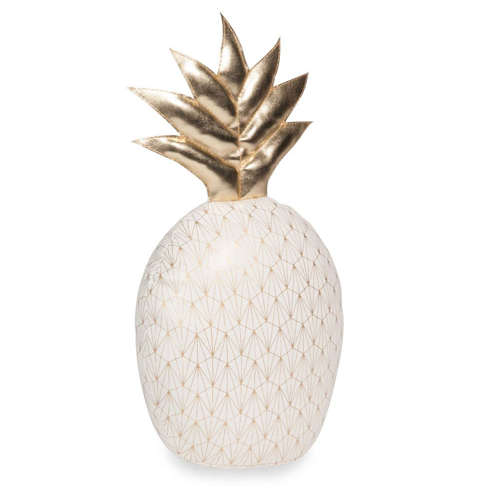 Lovely ANANAS Off White And Gold Pineapple Door Stop