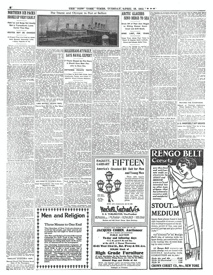 TimesMachine April 16, 1912 - New York Times - Titanic - PAGE 6