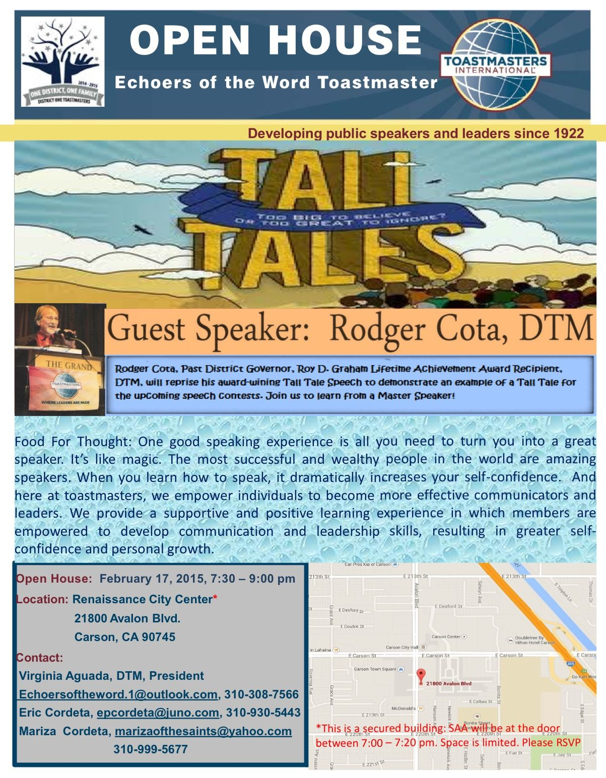 Open House Echoers Of The Word Toastmaster Featuring Rodger Cota Food For Thought One Good Speaking Experience Is A Open House Fun To Be One Great Speakers