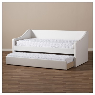 Barnstorm Modern And Contemporary Fabric Upholstered Daybed With Guest  Trundle Bed   Twin   White   Baxton Studio