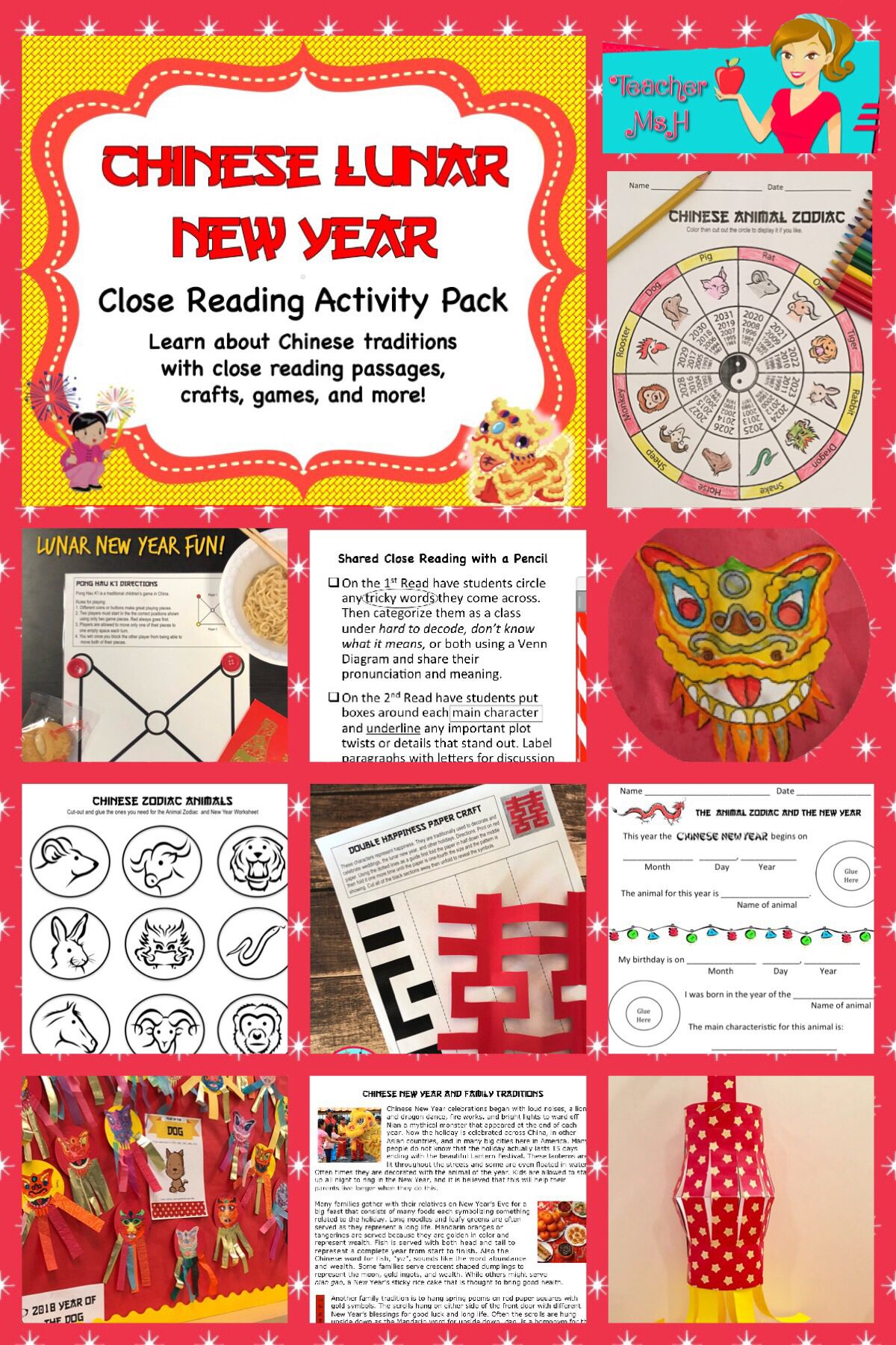 Chinese New Year 2020 Lunar New Year Close Reading Crafts Games Activity Pack Activity Pack New Years Traditions Close Reading