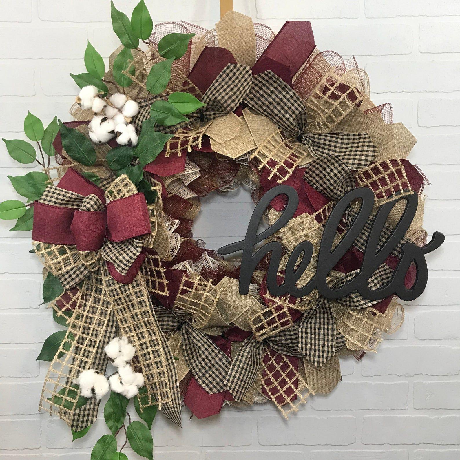 Heart Wreath Farmhouse Wreath Country Farmhouse Decor Welcome  Wreath Burlap Wreath Everyday Wreath Deco Mesh Wreath Rustic Wreath