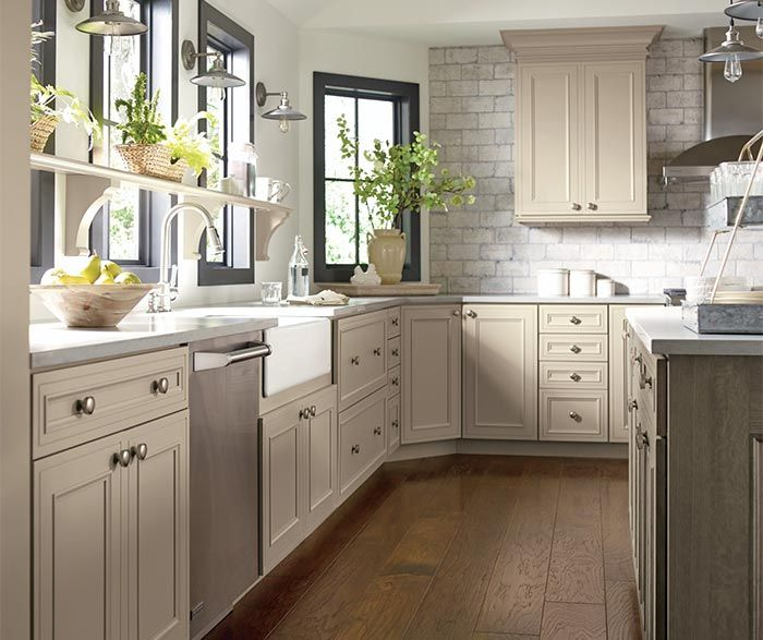 Kitchen Island Accent Color: Kitchen Cabinets In True Taupe Cabinet Paint With Angora