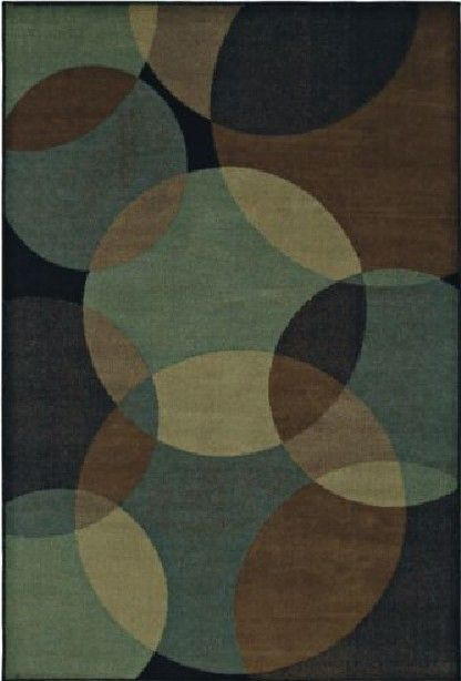 Radius Teal Brown Beige Black Circles Contemporary Area Rug from
