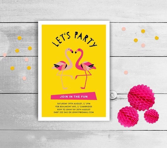 Flamingo Birthday Party Invitations Printable PDF by BonjourBerry