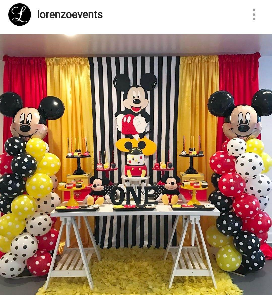 Mickey mouse birthday party dessert table and decor - Decoracion cumpleanos para ninos ...