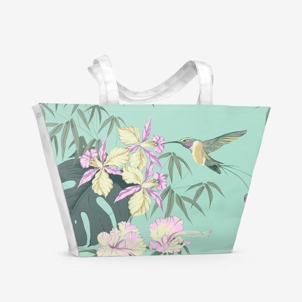 Пляжная сумка «Colibri (Тропические цветы и колибри)»