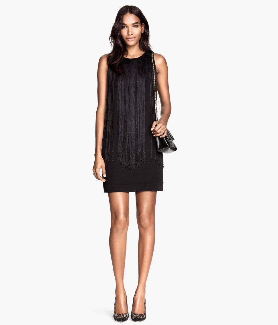 bcbe000d16 Short black sleeveless dress with long front fringe. | Party in H&M ...