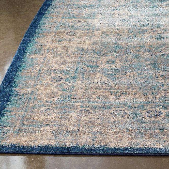 Distressed Cool Toned Transitional Rug