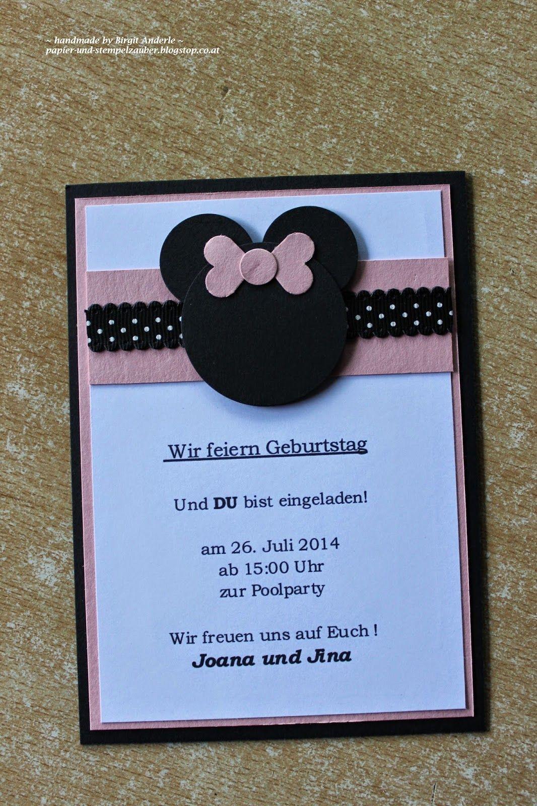 Papier und stempelzauber einladung zur party mit viiiiel minnie mouse basteln pinterest - Ideen zur geburtstagsfeier ...