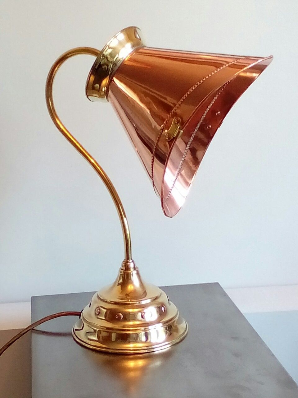 Up Cycled Vintage Copper And Br Bucket On A Solid Lamp Base By
