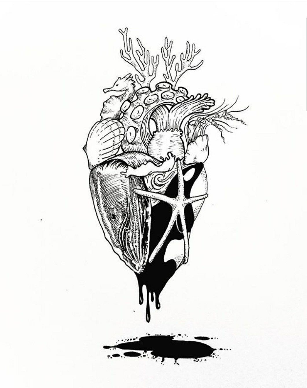 Ocean heart tattoo drawing