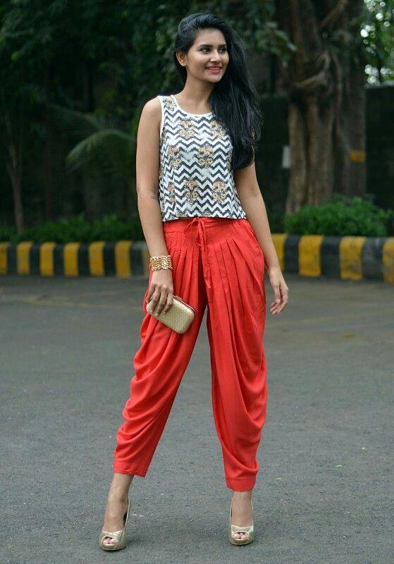 15058e0e2 Dhoti pants & crop top | Fashion | Fashion pants, Indian outfits ...