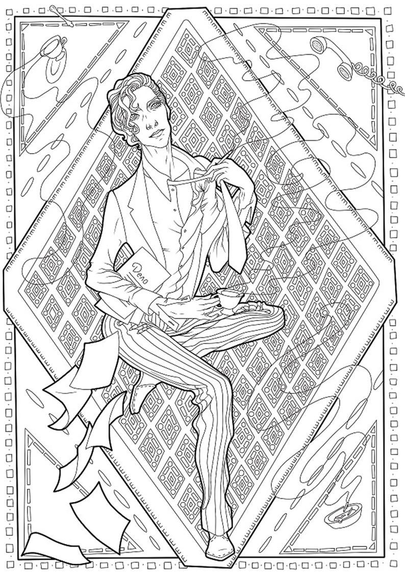 Coloring Page Romantic Dark Fantasy Black And White A Etsy Coloring Pages Coloring Books Mandala Coloring Pages
