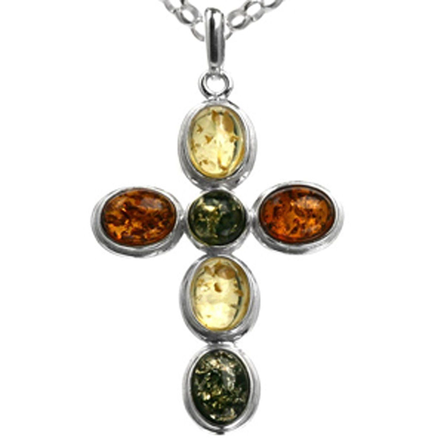 Multicolor Amber Sterling Silver Dragonfly Pendant Necklace Chain 46 cm Wy6UteUuJ