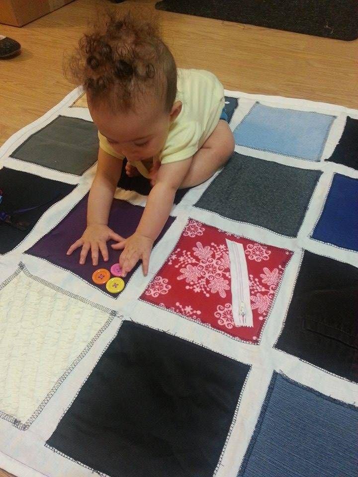 Diy Montessori Fabric Sensory Play Mat For A Baby Baby Sensory