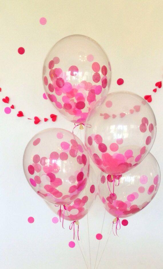 Globos transparentes con confeti rojo para regslo o decoracin de