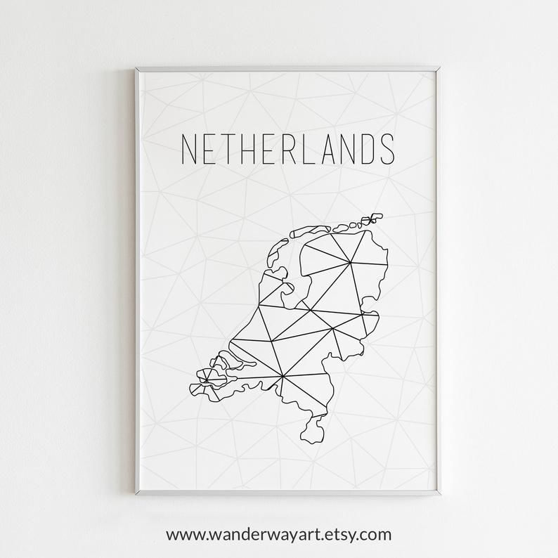 High Resolution Printable Map Of Netherlands Perfect Art For Your Room And Wonderful Gift Idea Find More Printa Printable Maps Netherlands Map Geometric Art