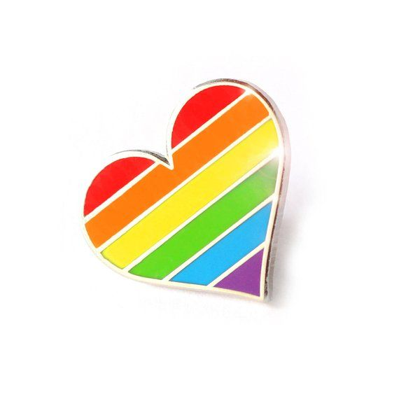 9471e2bcdaf49 Pride pin, Rainbow heart enamel pin, lapel pin, LGBTQ pin, Gay ...