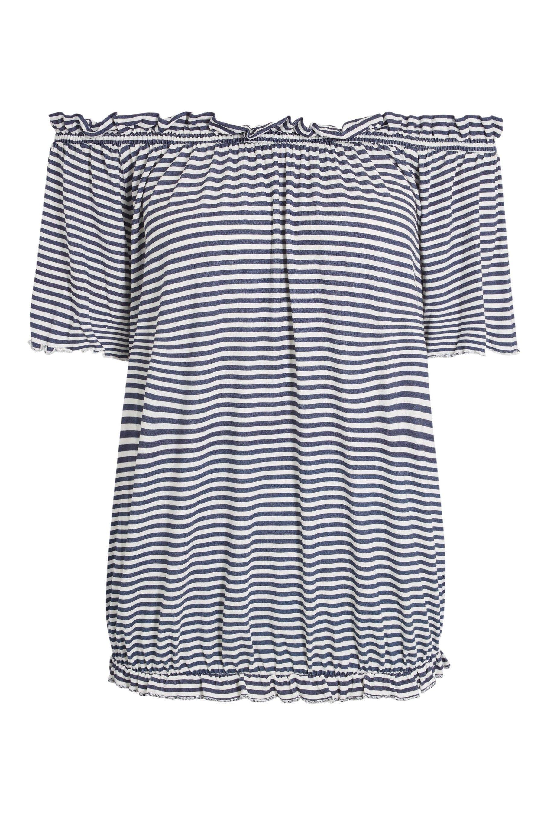 ac148fa298b3d3 Womens Next Navy/White Stripe Bardot Top - Blue | Products | Striped ...