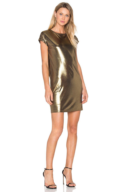 Halston Heritage Foil Jersey Dress em Bronze | REVOLVE