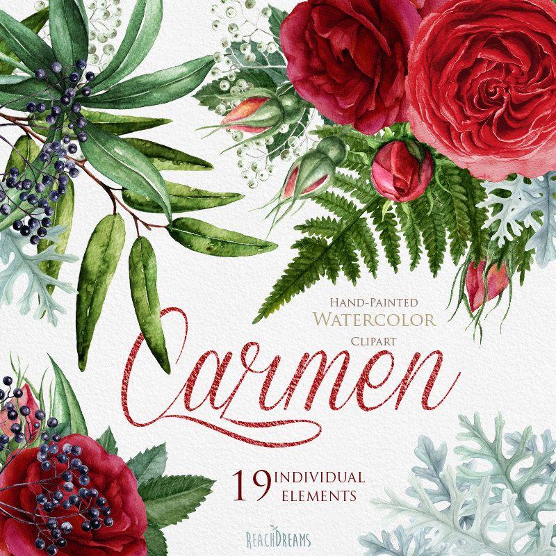 Matrimonio acquerello fiori rose inglesi Nodiflora di ReachDreams