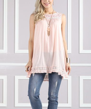 Look what I found on #zulily! Pink Lace-Accent Yolk Tank - Plus Too #zulilyfinds
