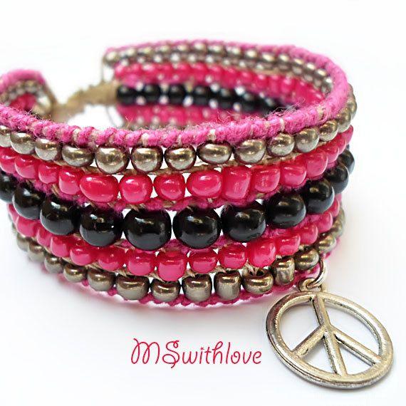 Fuchsia bracelet peace charm bracelet beaded by MSwithlove on Etsy