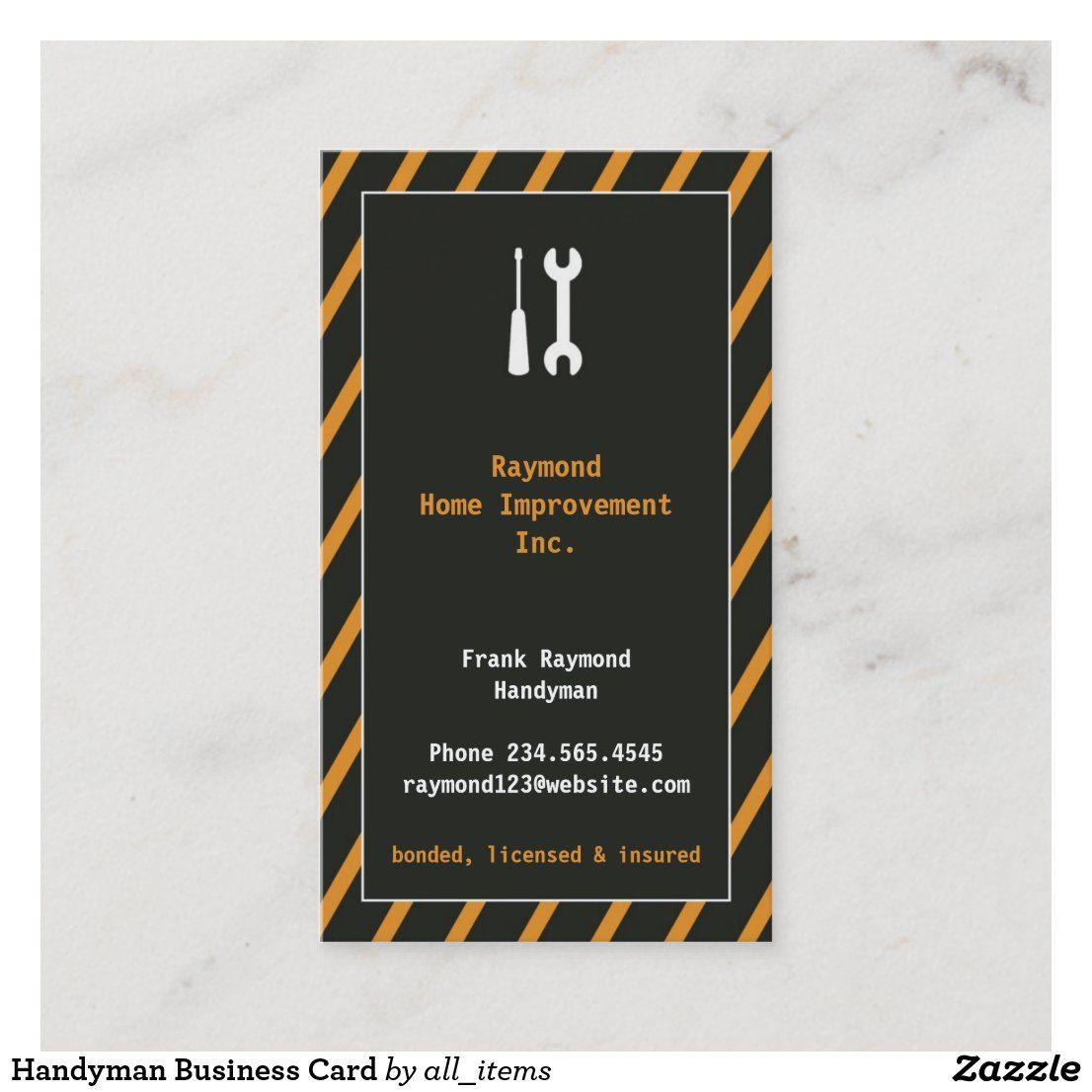 Handyman Business Card Zazzle Com Handyman Business Small Business Cards Elegant Business Cards