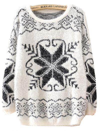 Beige Long Sleeve Snowflake Pattern Knit Sweater