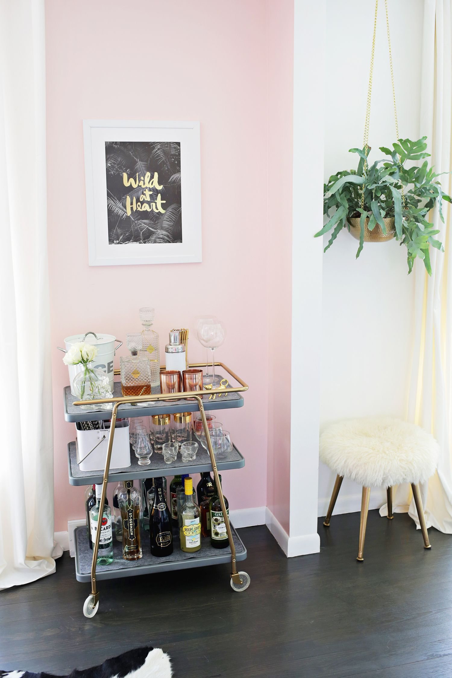 25 Pastel Accent Walls That Will Inspire You To Paint Pink Wall Cute Bar Cart And Fur Stool