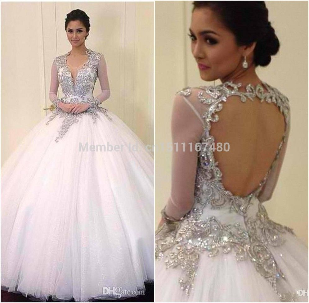 6591af8249 2014 Wedding Gowns with Bling | New 2014 Long Sleeve bling Wedding ...