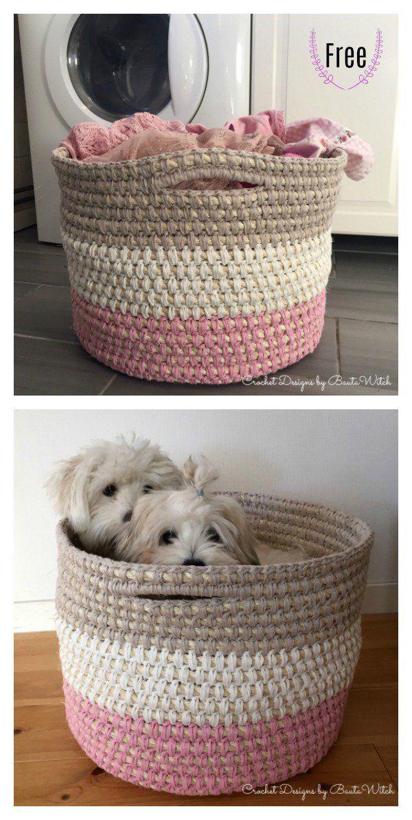 Laundry Basket With Handles Free Crochet Pattern #crochetpatterns