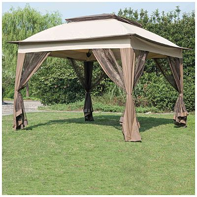 Wilson Fisher Tan Pop Up Canopy With Netting 11 X 11 Big Lots Backyard Canopy Patio Canopy Canopy Outdoor