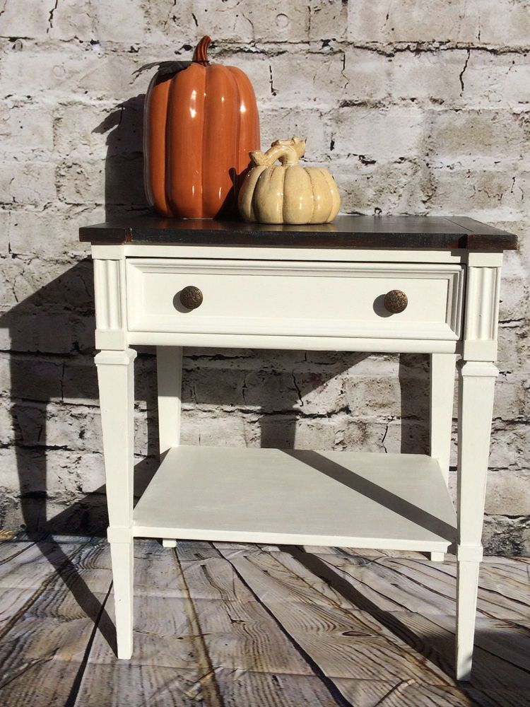 Vintage Solid Wood Painted Night Stand White Fine Furniture Co Whitefinefurnitureco Modern