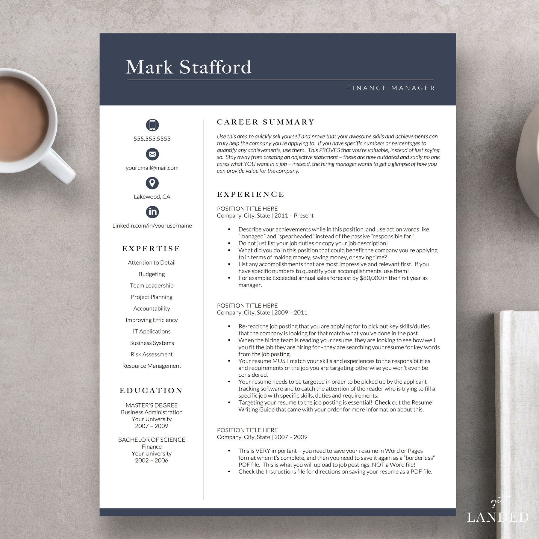 Finance resume template for word and pages the stafford
