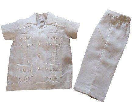 Boys Linen Guayabera shirt and pant set  Boy by AbysKidsLinen