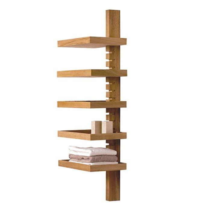 "Bati ""Camelia Tree"" Teak Wandregal mit 5 Regalböden 52x34x150cm / div"