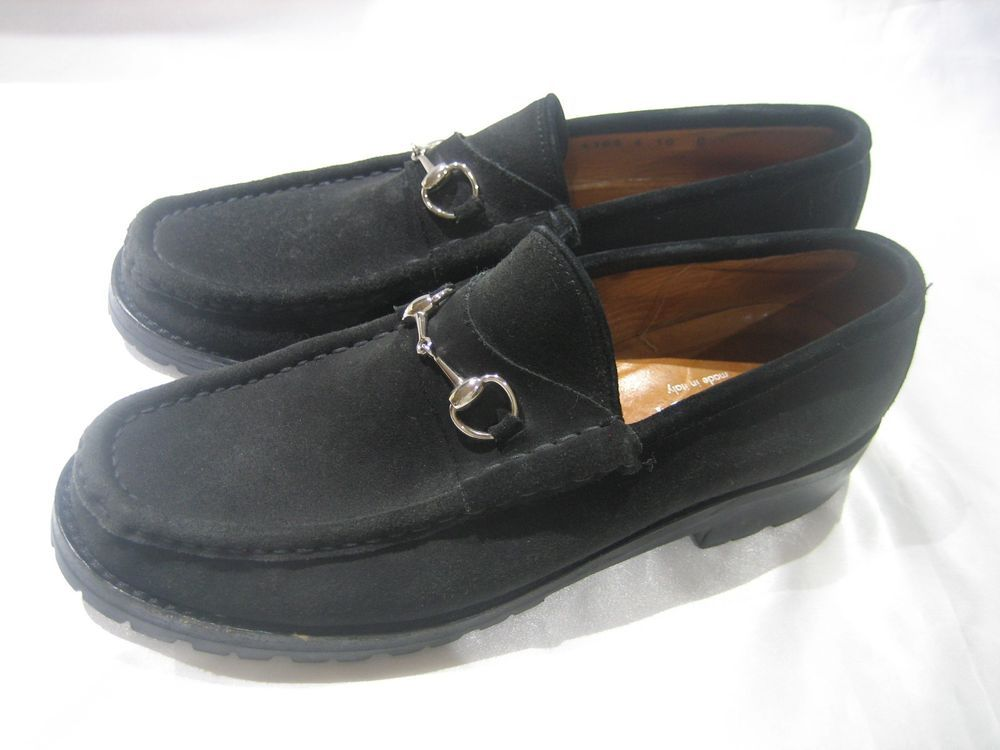 281a7246fcc GUCCI BLACK SUEDE HORSEBIT WOMEN S LUG SOLE LOAFERS SIZE 10B  Gucci  Loafers