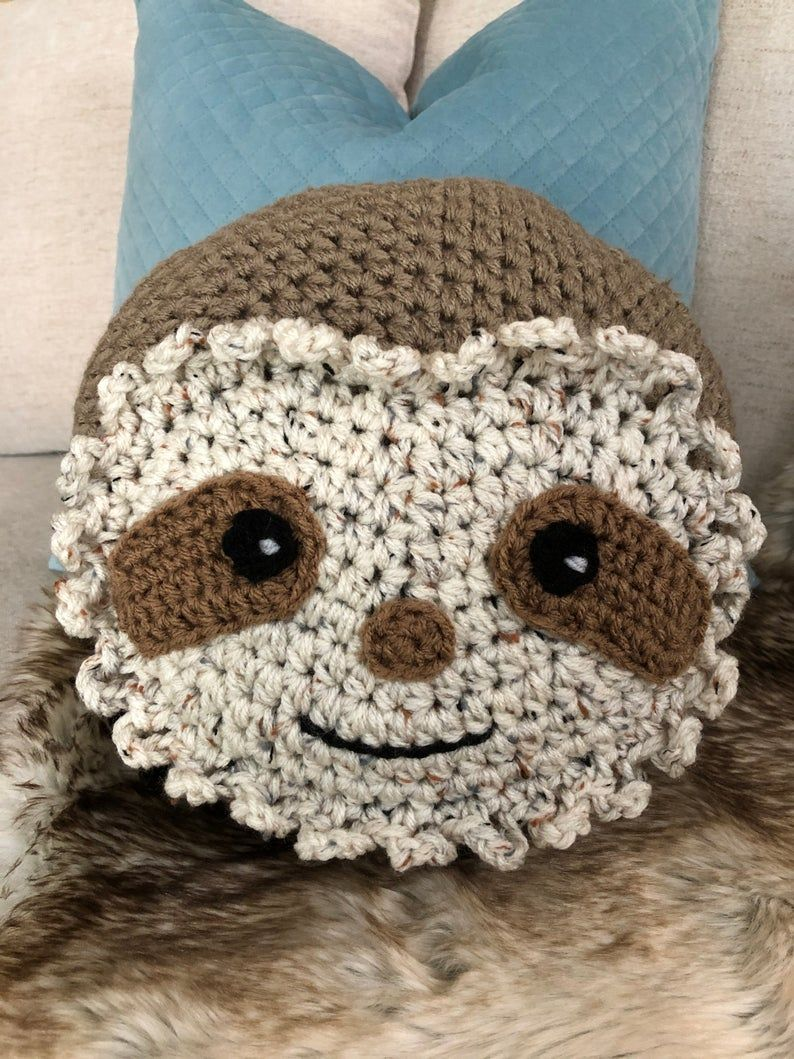 sloth crochet Pillow, Handmade Sloth Pillow, Sloth gift Pillow, Round pillow, decorative pillow