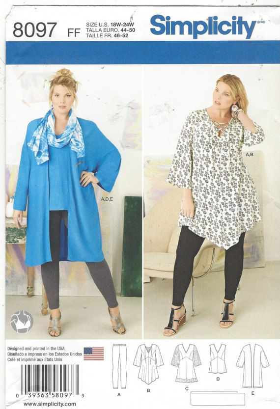 Plus Size Womens Tunic in 2 Lengths, Kimono, Scarf & Knit Leggings ...