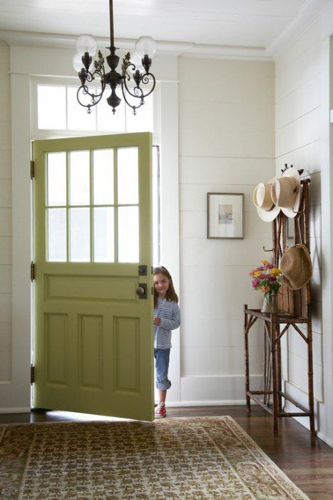 green front door, entryway | foyers & entryways | pinterest | more