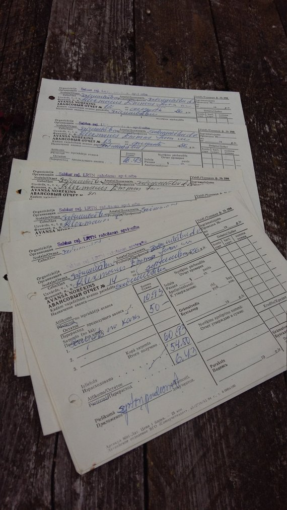 lot vintage old documents accounting form from soviet era USSR 1980s