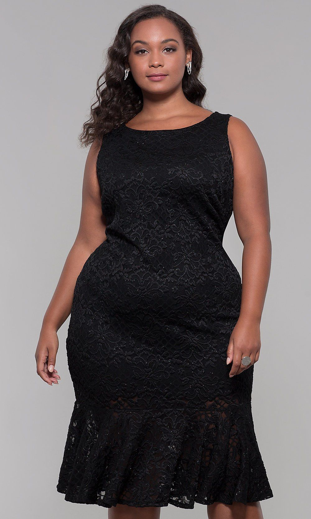 Knee-Length Black Lace Plus-Size Wedding-Guest Dress in 2019 ...