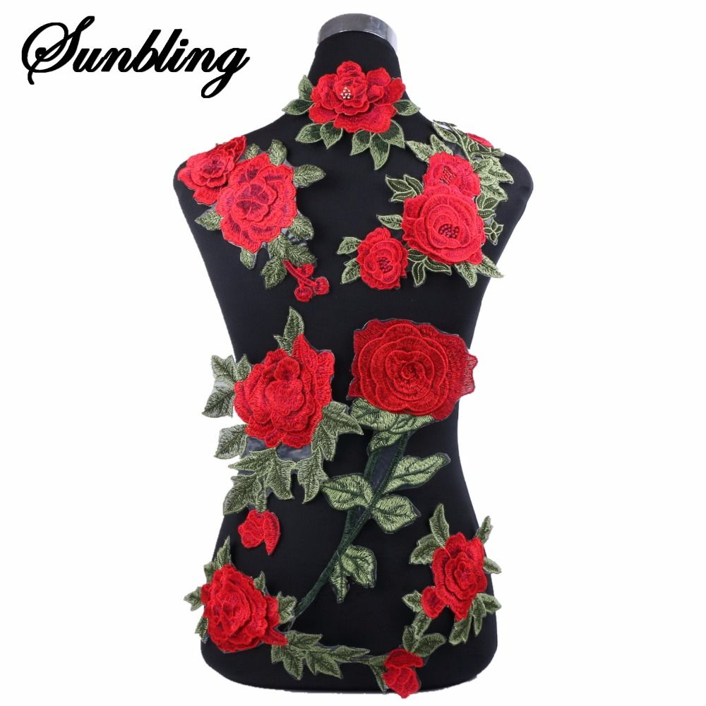 6bf9190be85f0 1pcs lot brand patches flowers embroidered patch iron on red rose ...