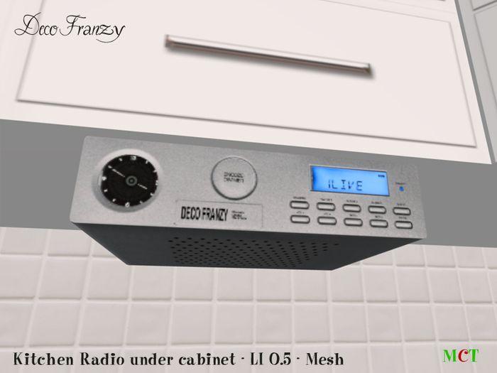 Interior Kitchen Radio Under Cabinet second life marketplace decofranzy under cabinet kitchen radio dab silver for soundmaster