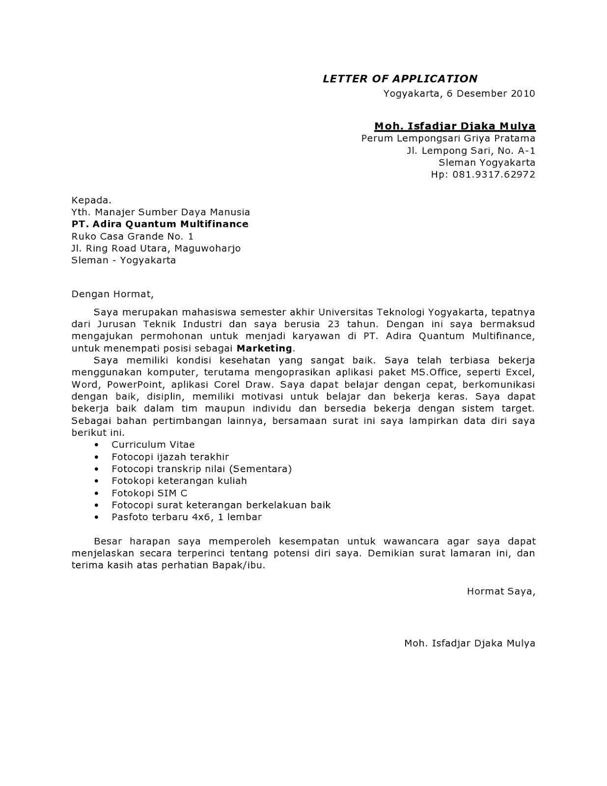 Contoh Surat Lamaran Kerja Adira Quantum Ben Jobs Cover