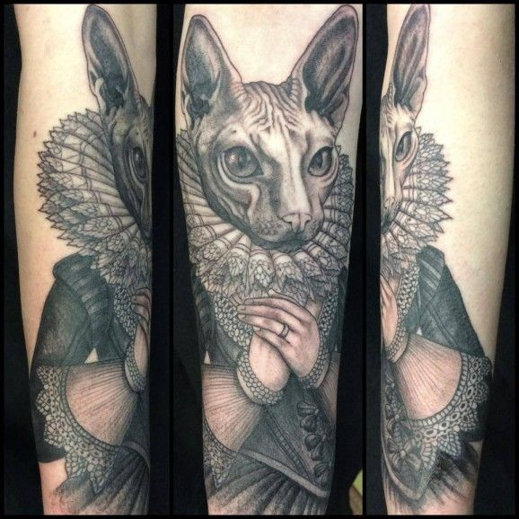 30 Oddly Charming Sphynx Cat Tattoos: Sphynx Cat With A Ruff And Renaissance Dress Tattoo By