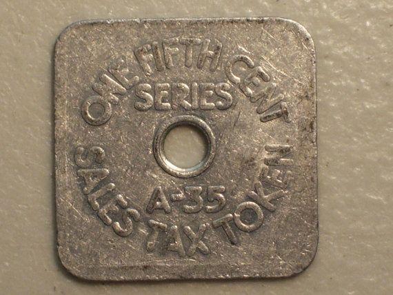 1 5 Cent Square Aluminum Colorado Sale Tax Token State Revenue Treasurer A 35 1940 S